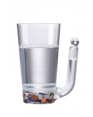 Glass cup with double bottom and handle